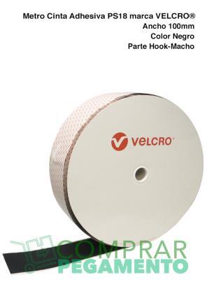 1 Metro Cinta Adhesiva marca VELCRO® PS18 100 mm Negro Macho
