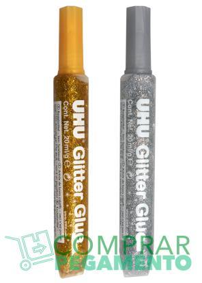UHU Creativ Glitter Glue Oro-Plata Tray