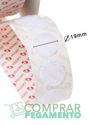 VELCOIN® Adhesivo marca VELCRO® 19 mm Blanco Macho