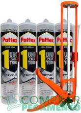 PATTEX Uno para todo Cristal Transparente PACK 4 Cartuchos de 290 ml