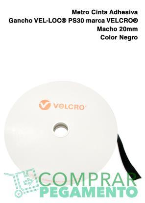 1 Metro Cinta Adhesiva Gancho VEL-LOC® marca VELCRO® PS30 20 mm Negro Macho